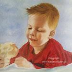 Jack met appel - olieverf op canvas - 32x24cm - niet te koop