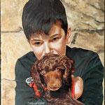 Jongen met pup - olieverf op canvas - 32x24cm - niet te koop