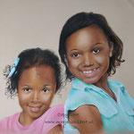 Zusjes - pastelpotlood op pastelmat - 30x42cm - niet te koop