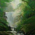 Waterval - pastelpotlood op pastelmat - 30x24cm - te koop