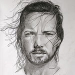 Eddie Vedder - grafietpotlood op papier - 21x29cm - te koop
