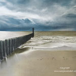 Zoutelande, zee en strand - pastelpotlood op pastelmat - 30x42cm - te koop