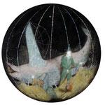 「机上の星」900×900(円形) oil on cotton  2016