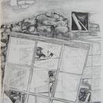 Zutritt verboten 4, 84x59 cm, Zeichnung Kohle, 2019