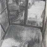 Stadel 2, 84x59 cm, Zeichnung Kohle, 2019