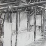 Stadel 1, 84x59 cm, Zeichnung Kohle, 2019