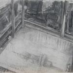 Stadel 3, 59x84 cm, Zeichnung Kohle, 2019