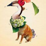 「植物と動物を組み合わせた、不思議な生き物図鑑」004:アイガンメデル 観賞用として人気の生き物。 水をあげることはもちろん、たくさん撫でてやると、喜びキレイな花を咲かせる。