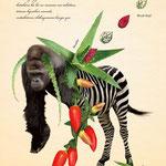「植物と動物を組み合わせた、不思議な生き物図鑑」010:ゴウワンキョウキ 片腕が異常に発達し、肩から葉のミサイルを飛ばす。 とても凶暴なので、見つけても近づかない方が良い。