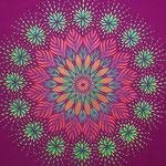 「花の一生」バティック。べた塗り/ステンシル ライン/手書き 100×150 レーヨン/アクリル