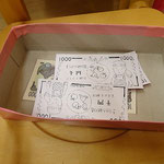 子どもたちが使ったお金。一枚ちがうお金が・・・園長先生のお金受け取った子は本物?とビックリ。