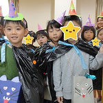 湘南まるめろ保育園の5歳児さん、去年ここに怖い魔女がいたことを覚えていました。今年この部屋にいたのは怖くないカボチャです。