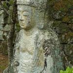 桃山時代の阿弥陀如来石造十三体が慈眼堂西側の高みに並んでいる