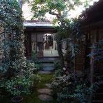 奥から見た坪庭と座敷