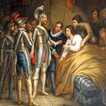Henri de Navarre vient voir son ami Geoffroy de Vivant blessé à Coutras