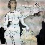 Blatt 23 Im Kontrapost 25 x 25 cm - 2013 (c) Collage von Susanne Haun