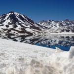 Nein, kein See in den schweizer Alpen. Das ist die Lagune Miscanti, hinten der Vulkan, auf einer Höhe von 4'500 Metern.