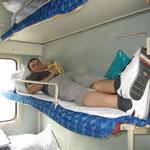 Im Zug, unser Schlafplatz für die nächsten 17 Stunden