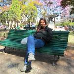 Ein schöner Frühlingstag an der der Plaza 9 de Julio
