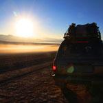 Unterwegs auf dem Altiplano. Morgens bei eisigen Temperaturen!!!
