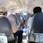 Im Flugzeug drin war es sehr eng.