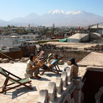 Die Aussicht von unserem Hostal über Arequipa