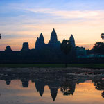 Angkor Wat, das spektakulärste Bauwerk, das je von Menschenhand gebaut wurde. Bild: Sonneaufgang beim Angkor Wat
