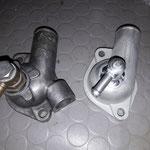 Das Thermostatgehäuse wird auch verbessert ( siehe rechts), der Stutzen für den Ausgleichsbehälter wird aus Alu angeschweisst