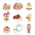 洋菓子イラスト(画材:水彩絵具・ペン・色鉛筆)