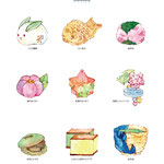 和菓子イラスト(画材:水彩絵具・ペン・色鉛筆)