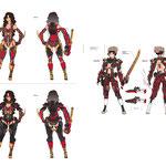 スマホゲーム「ブレイドスマッシュ」に登場するキャラクターのデザインをしました。通常のイラストとは違って細部まで造形を意識してデザインしています。