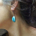 pendant d'oreilles ceramique en forme de lune