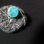 Bracelet en raku bleu turquoise.