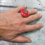 bague artisanale raku rouge