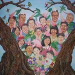 華の家系図 Flowery family tree/145.5×145.5cm/2014