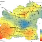 Illustration (précipitations) extraite de l'étude sur l'évolution des écosystèmes naturels face au changement climatique et à la pollution de l'air (Grand Site Sainte-Victoire), 2018, réalisation GeographR