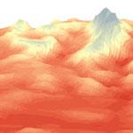 Illustration en 3D (températures) extraite de l'étude sur l'évolution des écosystèmes naturels face au changement climatique et à la pollution de l'air (Grand Site Sainte-Victoire), 2018, réalisation GeographR