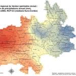 Modélisation du climat futur (précipitations), Parc naturel régional du Verdon, réalisation GeographR