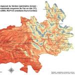 Modélisation du climat futur (température maximale en été), Parc naturel régional du Verdon, réalisation GeographR