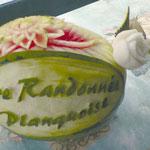Pastèque sculptée personnalisée - 60 €