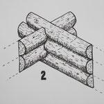 2. Blockbau mit Hälblingen, hälftig aufgespaltenen Stämmen