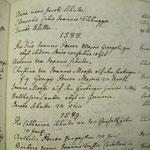 """Im Sterbebuch der Pfarrei Zermatt notierte Pfarrer Johann Biderbost 1767 aus alten Dokumenten Todesfälle, darunter 1588 Christina Frau des Johannes Mooser """"auf den Herbrigen"""" und zwei Wochen später auch Johannes Mooser junior """"auf den Herbrigen"""" (Pfarrarc"""