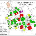Heutiger Gebäudebestand in Zmutt, punktiert die abgegangenen Bauten (Aufnahme: Viktor Perren, Klaus Julen, Werner Bellwald 2020. Grafik: Uwe Börst).