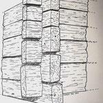 3. Aus Stämmen zubehauene  Kanthölzer (Zeichnung: Peter Schaad, Rheinfelden)