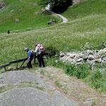 """Altes Wegstück dem Felsrücken des Biinelti entlang: mit Natursteinen gepflästerte Weg, im Dialekt """"Bikki"""" genannt."""