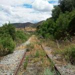 Bahntrasse in Pocinho, 2 km in eine Richtung gelaufen