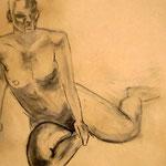 weiblicher Akt (Kohle, Papier; 42 x 59 cm)