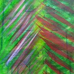 Garten im Regen (Acryl/Papier, 32 x 24 cm)