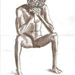 versunken (Pastellkreide, Papier; 42 x 30 cm)