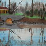 Kanalarbeiten 2 (Haveleck bei Pinnow) (Öl/Leinwand, 30 x 40 cm)
